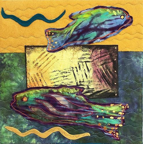 """Treasure Chest Fish"" Fiber Art by Sally Dutko"