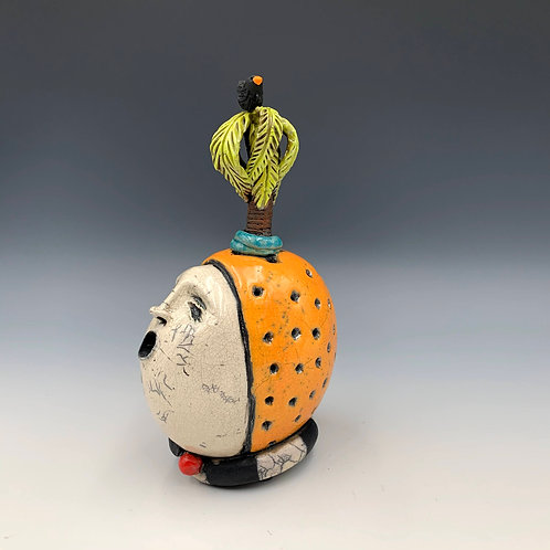 """""""The Florida Fool"""", a raku fired clay sculpture by JoAnne Bedient"""