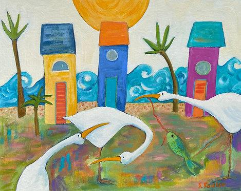 A Day at the Beach original acrylic by Susan Sadler