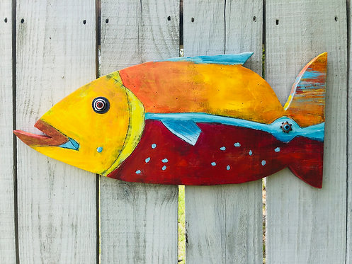 "Painted Wooden Fish ""Jason the Angel Fish"" by Kelly Morrison mixed media acrylic"