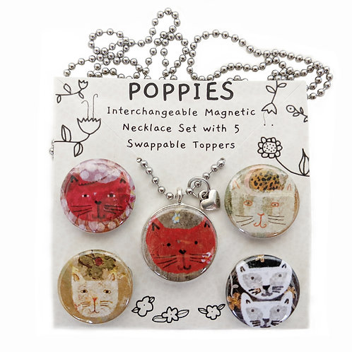 Madeline & Friends Cats Interchangeable Magnetic Necklace Set by Sarah Kiser