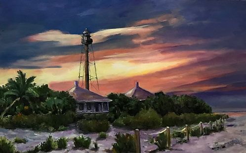 """""""Sanibel at Sunset"""" Original Oil Painting by Joan Roberts"""