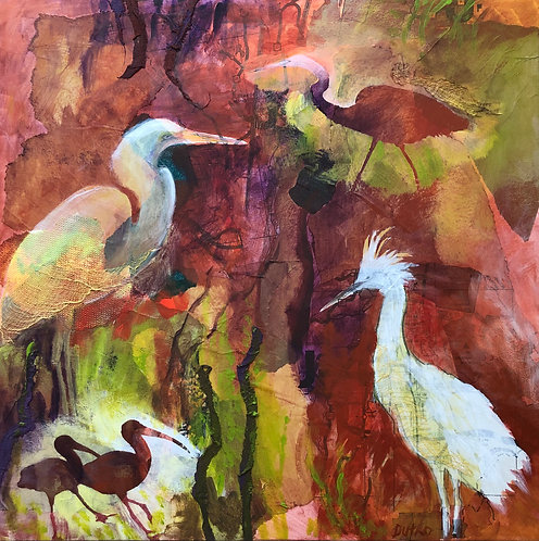 """""""Peace in the Preserve,"""" Acrylic and Fiber Collage by Sally Dutko"""