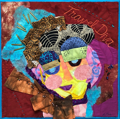 """""""Travel Diva with Scarf"""" Mixed Media by Sally Dutko"""