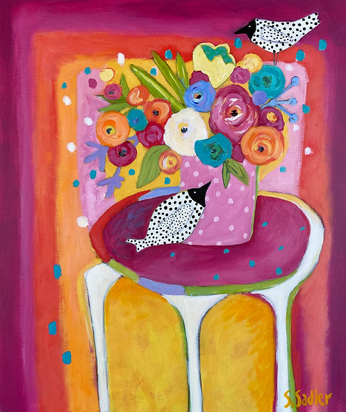 """FRESH CUT"" whimsical floral Original Painting by Susan Sadler"