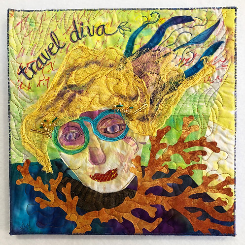 """Travel Diva"" Fiber Art by Sally Dutko"