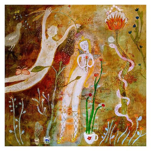 """The Garden"" (Adam and Eve) 16x16 Print by Sarah Kiser"