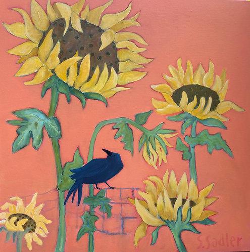 """""""ON THE FENCE"""" an original acrylic by Susan Sadler"""