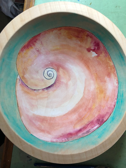 Marianne Ravenna Shark's Eye Moonsnail Original Hand Painted Maple Wood Bowl