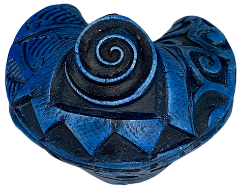 Deep Blue Patterned Fortune Cookie by JoAnne Bedient