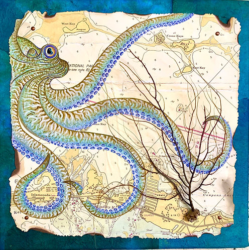 """Blue Octopus & Sea Whip"" An Original Chart Painting by Anne Schroeder"