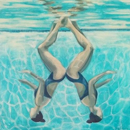 "24"" X 24"" acrylic Two swimmers underwater Marti Koehler Synchronized Inversion"
