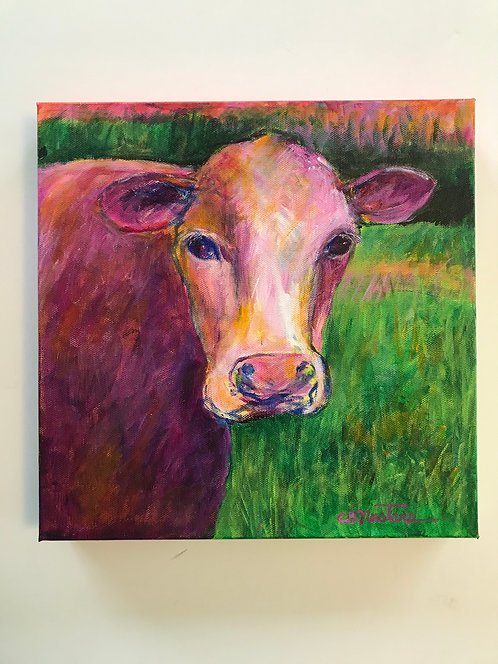"""Moo-n Glow"" original acrylic painting by Carole Nastars Square Foot Show"