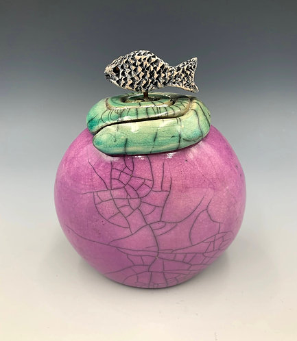 Raku Fired Ceramic Lidded Fish Pot by JoAnne Bedient