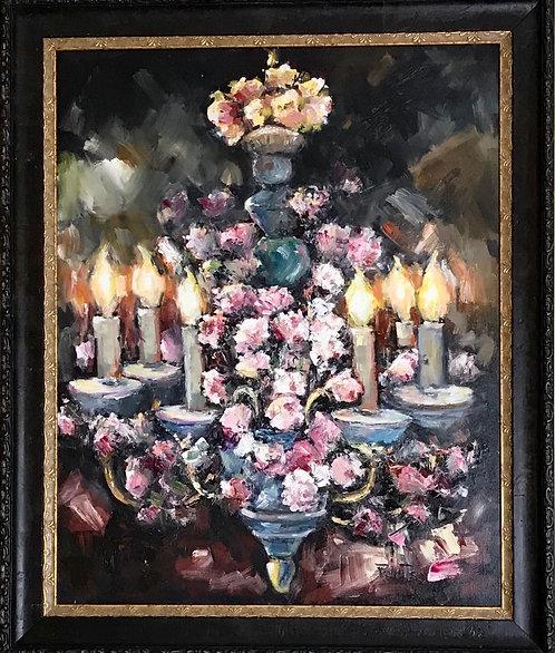 """""""Chandelier Elegance"""" Original Oil 35x29 framed canvas by Joan Roberts"""