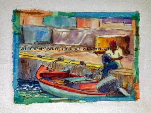 Just Another Day At The Office -The Fisherman by Lalita Lyon Cofer Prints