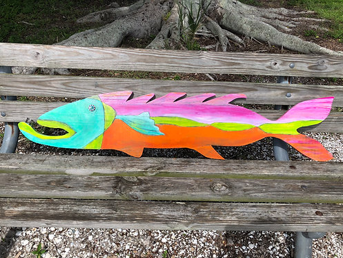 "Painted Wooden Fish ""Ashley"" by Kelly Morrison mixed media acrylic on wood"