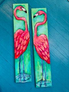 Kelly Morrison, Flamingos-Acrylic on wood with Lampwork bead eye