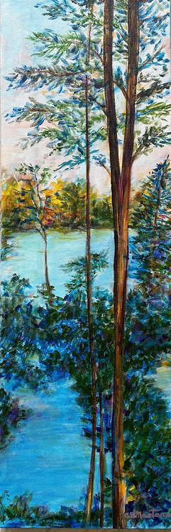 """BESIDE THE STILL WATER is an original 10""""x30"""" acrylic painting by Carole Nastars"""