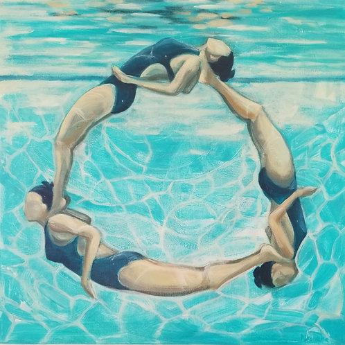 """24""""×24"""" acrylic painting on canvas Marti Koehler Synchronized Mandala"""