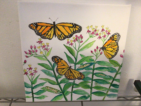 """Marianne Ravenna """"Monarchy"""" 12x12 painting Monarch Butterflies SQUARE FOOT SHOW"""
