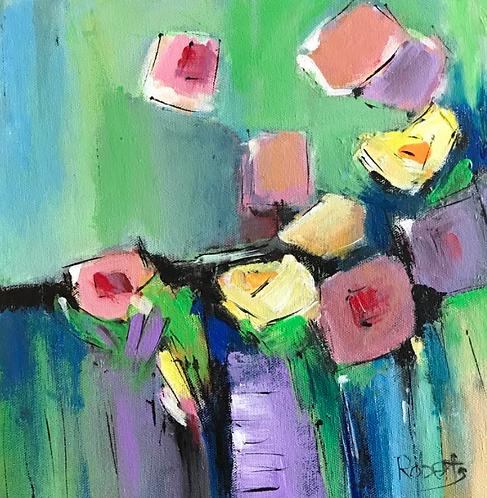 Happy Flowers Original Painting by Joan Roberts SQUARE FOOT SHOW