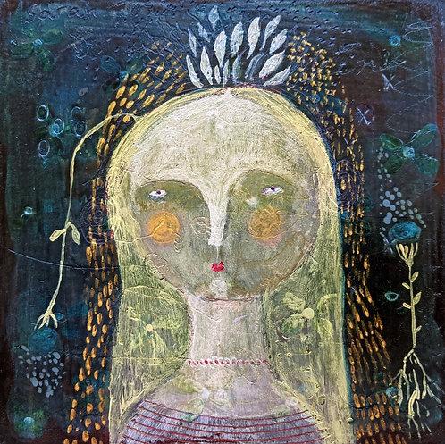 """Maura"" original painting portrait 6x6 on wood by Sarah Kiser"