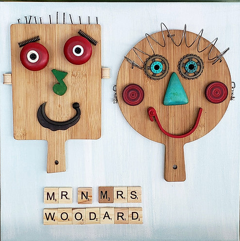 """Mike Danley """"The Woodards"""" found objects on canvas 12""""x12"""" Square Foot Show"""