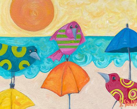 """THREE LITTLE BIRDS'' original painting 11x14 canvas by Susan Sadler"