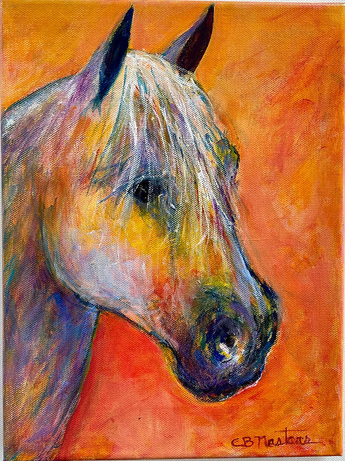 """HORSE OF A DIFFERENT COLOR an original 9""""x12"""" painting by Carole Nastars"""