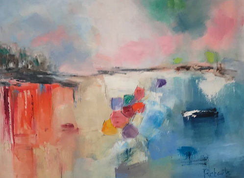 """Beach Umbrellas"" by Joan Roberts"