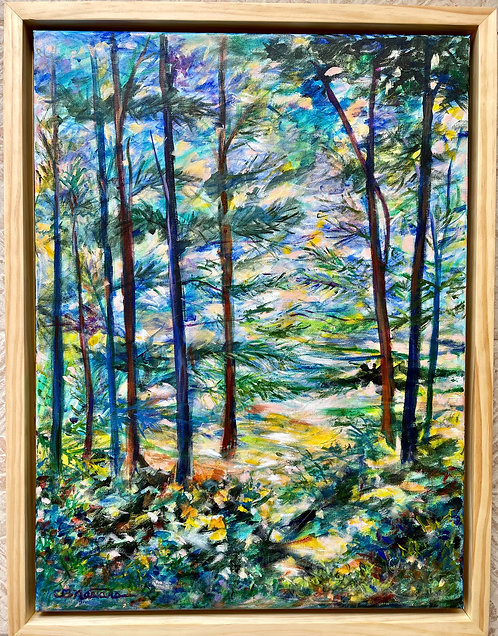 WONDROUS WOODS is an original framed acrylic painting by Carole Nastars