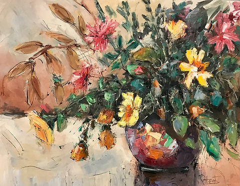 """""""Lively Blossoms"""" by Joan Roberts, ready to hang"""