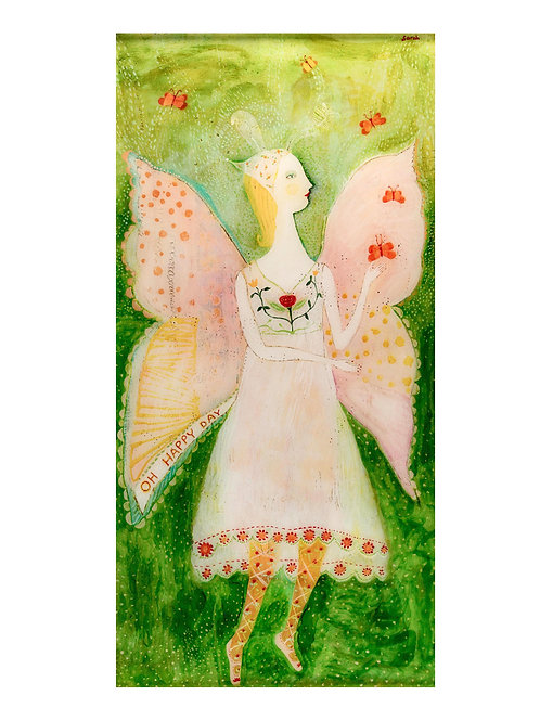 """""""Oh Happy Day"""" Original painting under resin by Sarah Kiser"""