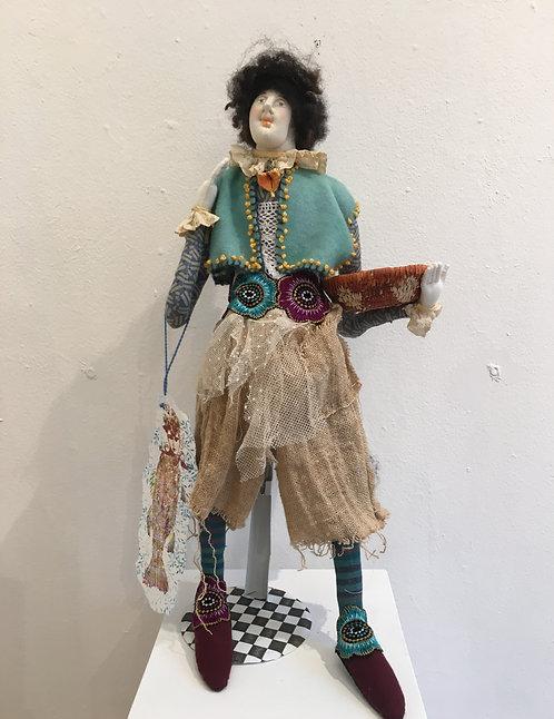"""Harry"" a one of a kind fiber art doll by Katie Gardenia"