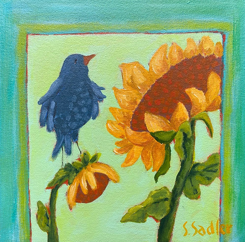 ''SUNNY DAY'' original acrylic 12x12 Square Foot Show by Susan Sadler