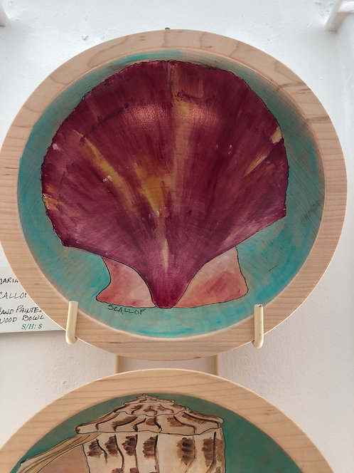 Marianne Ravenna Scallop Original Hand Painted Maple Wood Bowl