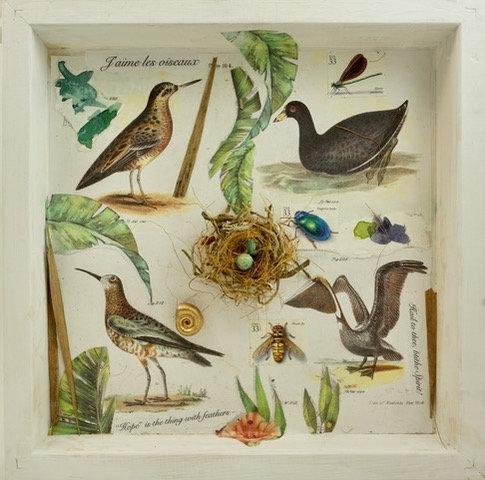 """J'aime les Oiseaux""  mixed media assemblage by Kathleen Dennison"