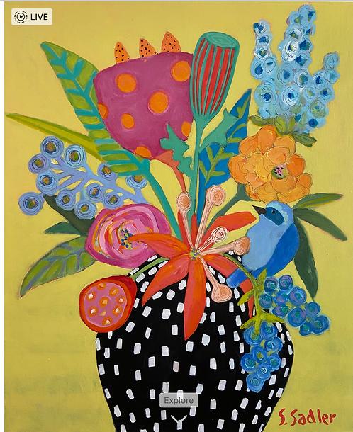 """Pot of Poseys"" original acrylic painting on canvas by Susan Sadler"