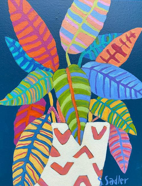 """FEUILLES"" a colorful original acrylic on canvas by Susan Sadler"
