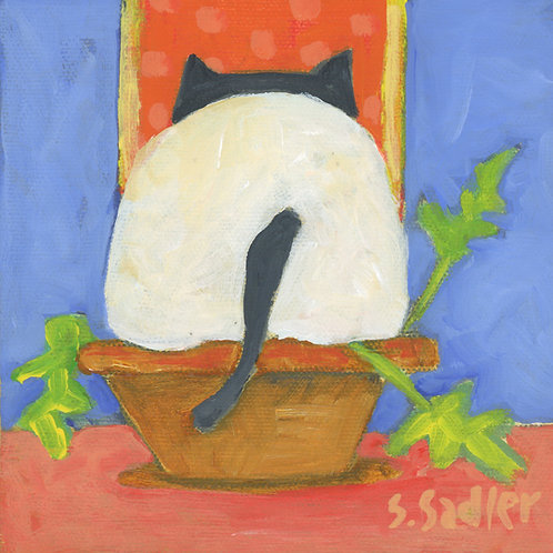 ''POTTED KITTY' print by Susan Sadler