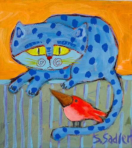 SCAREDY-CAT original acrylic by Susan Sadler