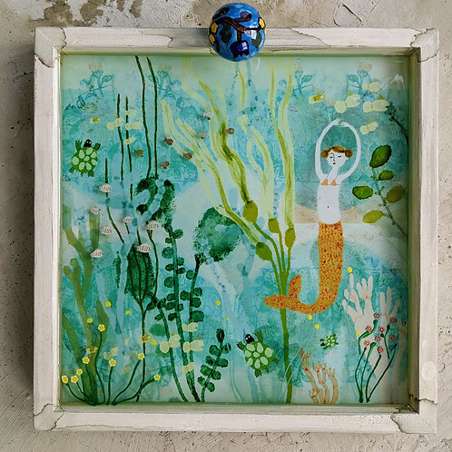 """Coral & Kelp"" 3-d Mermaid Under the Sea Mermaid Diorama by Sarah Kiser"