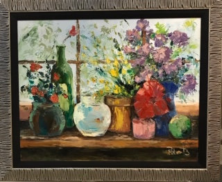 """A Fish Bowl"" - (""A Window of Flowers"") Original Oil by Joan Roberts"