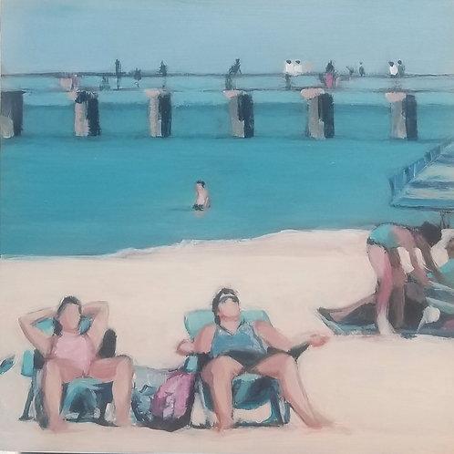 Marti Koehler Beach Painting 8X8 inches framed Blue Beach Babes