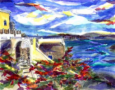 Santorini in Scarlett  by Lalita Lyon Cofer - Fine Art Prints