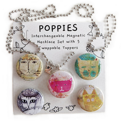 """Pussycats"" Interchangeable Magnetic Necklace Set by Sarah Kiser"