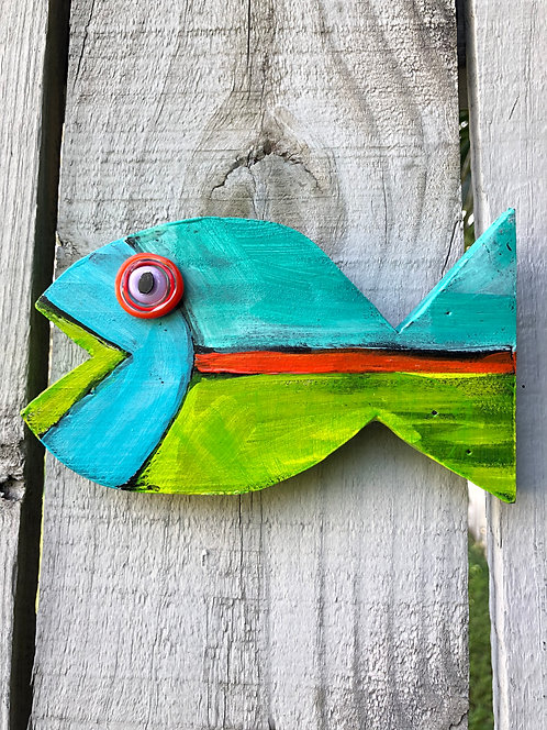 """Baby Fish """"Court"""" by Kelly Morrison, mixed media acrylic on wood"""