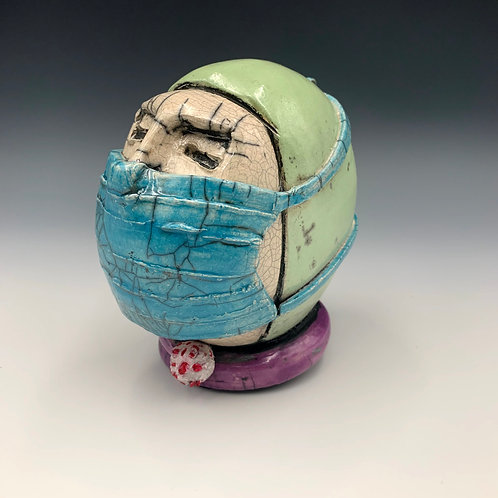 """Dr. W.H.O.?"" A raku sculpture by JoAnne Bedient Talking Head Series"