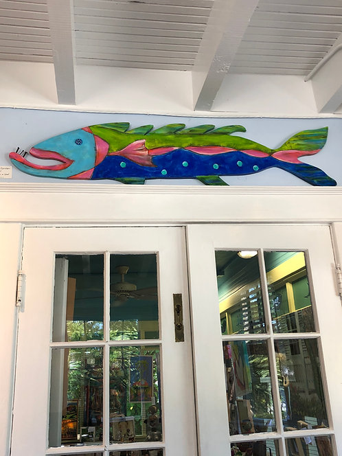 """Painted Wooden Fish """"Chad"""" by Kelly Morrison mixed media acrylic on wood"""